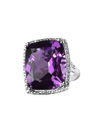 diamond amethyst purple ring engagement wedding bridal gemstone isolated on white