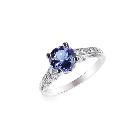 Beautiful sapphire and diamond wedding engagment ring gemstone center stone