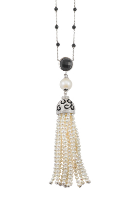 diamond necklace: Pearl and diamond tassle necklace isolated on white