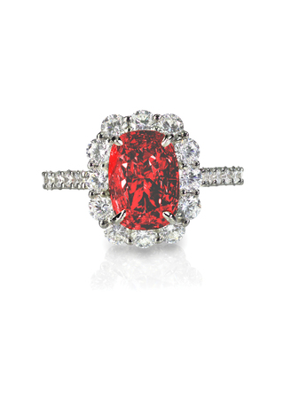 Ruby Center Stone Ring isolated on white