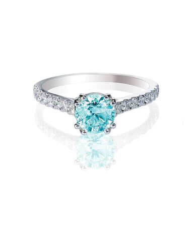 carat: Blue Diamond engagment wedding ring colored diamond stone isolated on white