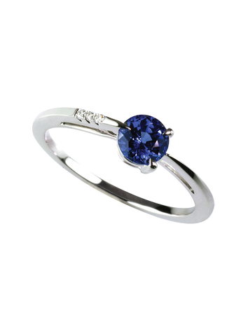 tanzanite: gemstone and diamond sapphire ring isolated on white Stock Photo