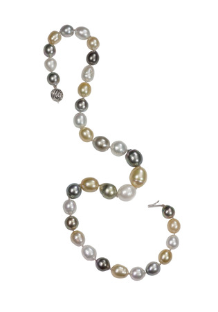string of pearls: Beatiful pearl necklace isolated on a background Stock Photo