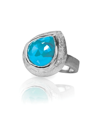 Turquoise silver fashion ring cushion cut isolated on white