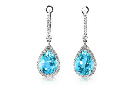Beautiful Diamond aquamarine blue turquise topaz gemstone cushion cut pear shape teardrop drop dangle diamond earrings.