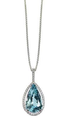 Blue Topaz Diamond drop pear shape gemstone halo necklace on a chain
