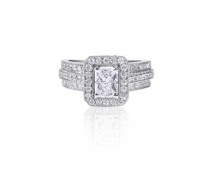 Large sapphire cut Diamond Wedding band engagement ring
