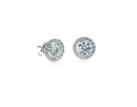 Beautiful Halo Diamond Stud earrings isolated on white
