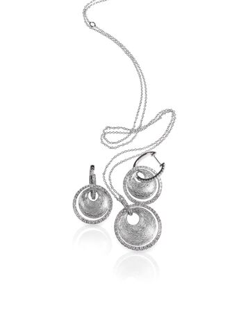 Diamond white gold platinum or silver fashion necklace and earrings set
