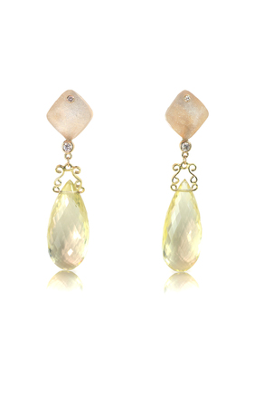 Yellow gold and diamond earrings with citrine crystals and druzy isolated on white