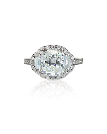 Large diamond setting multi stone diamond ring isolated on white.  Stock Photo