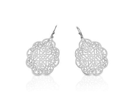 White gold silver filigree earrings