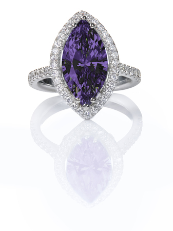 Purple Amethyst Beautiful Diamond Engagment ring. Gemstone Marquise cut surrounded by a halo of diamonds.