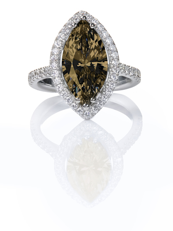 fiancee: Beautiful Chocolate brown fancy Diamond Engagement ring. Gemstone Marquise cut surrounded by a halo of diamonds.