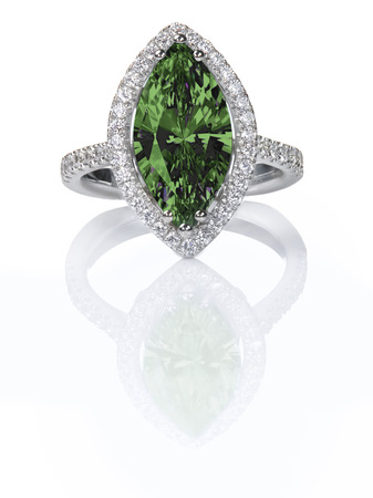 Green Emerald Beautiful Diamond Engagement ring. Gemstone Marquise cut surrounded by a halo of diamonds.