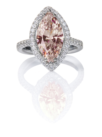 Peach Pink Morganite Beautiful Diamond Engagement ring. Gemstone Marquise cut surrounded by a halo of diamonds.