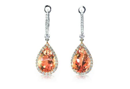 Beautiful peach pink morganite Diamond gemstone cushion cut pear shape teardrop drop dangle diamond earrings.