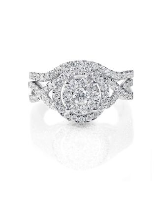 Bridal Set of multi diamond engagment and wedding ring that fits together.
