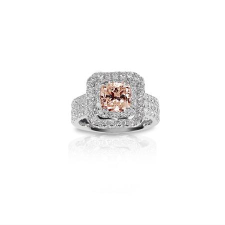 Peach Pink Morganite Beautiful Diamond Engagment ring. Gemstone square princess cut surrounded by two halo of diamonds. Modern