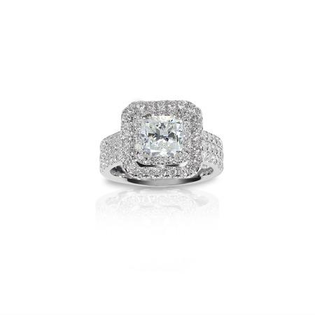 Beautiful Diamond Engagment ring. Gemstone square princess cut surrounded by two halo of diamonds.