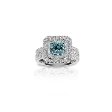 Blue Topaz Aquamarine Beautiful Diamond Engagment ring. Gemstone square princess cut surrounded by two halo of diamonds.