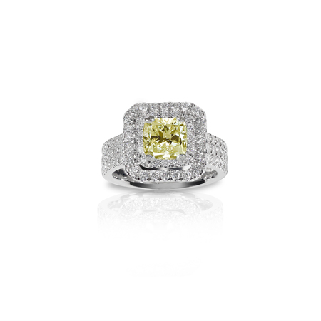 Fancy Yellow Citrine Topaz Beautiful Diamond Engagment ring. Gemstone square princess cut surrounded by two halo of diamonds.