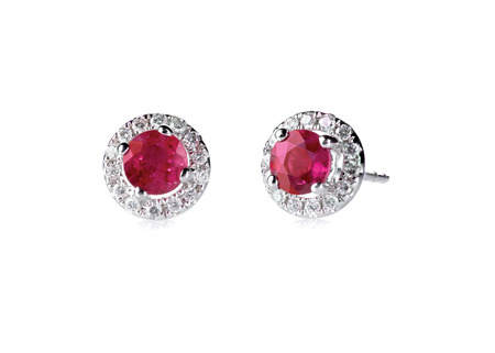 Red ruby halo setting diamond stud earrings set isolated on white