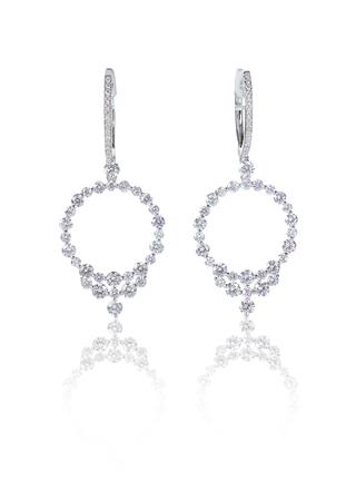Diamond hoop dangle pave elaborate bridal earrings isolated on white 版權商用圖片