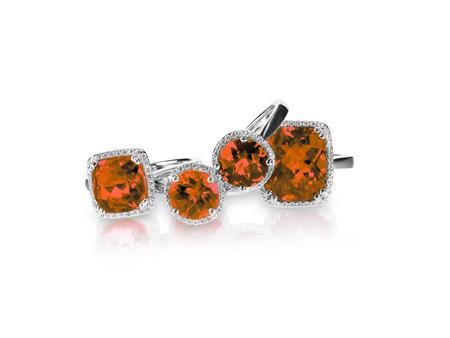 Set of red ruby rings gemstone fine jewelry. Group stack or cluster of multiple gemstone diamond rings. 版權商用圖片