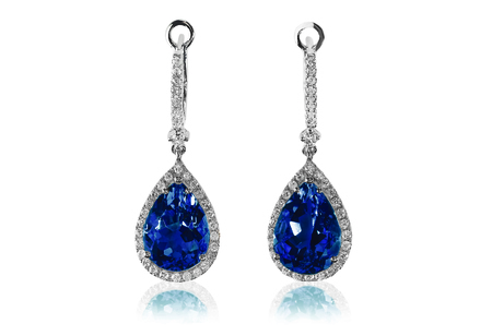 Beautiful Diamond blue sapphire gemstone cushion cut pear shape teardrop drop dangle diamond earrings.