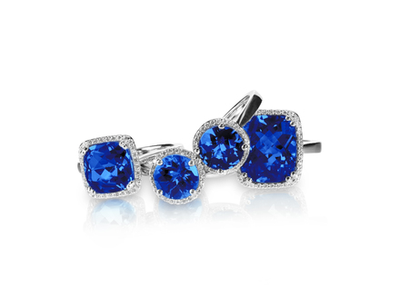 Set of rings gemstone fine jewelry. Group stack or cluster of multiple gemstone diamond rings.