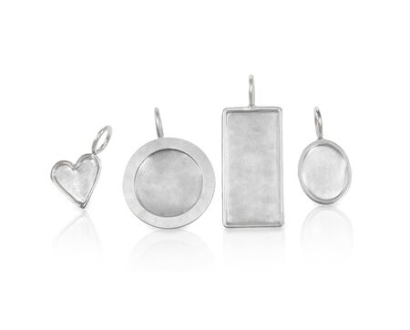 Silver undecorated charms for necklaces in various sizes