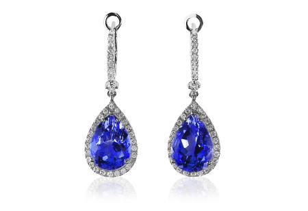 Beautiful Diamond purpe gemstone tanzanite amethyst cushion cut pear shape teardrop drop dangle diamond earrings.