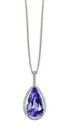 Purple Tanzanite Amethyst Diamond drop pear shape gemstone halo necklace on a chain