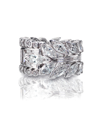 Beautiful Diamond Wedding band engagement ring with Marquis Diamonds antique art deco style
