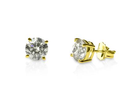美しいイエローゴールド ダイヤモンド スタッド ピアスの華麗なラウンドします。ダイヤモンドのイヤリング。