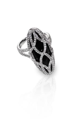 black diamond onyx fashion engagement wedding ring isolated on white