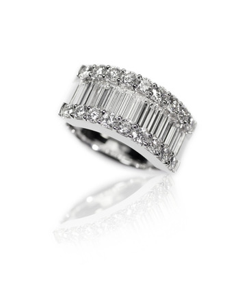Diamond encrusted engagment wedding anniversary ring with Emerald Cut Diamonds channel set