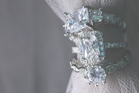 Several diamond wedding engagement rings. Fine jewelry.