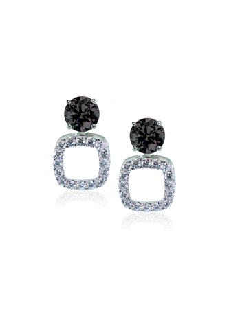 Onyx and diamond earrings