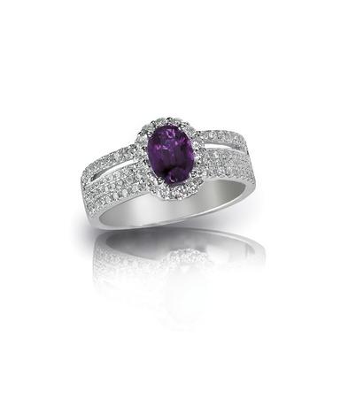 diamond amethyst purple ring engagement wedding bridal gemstone isolated on white