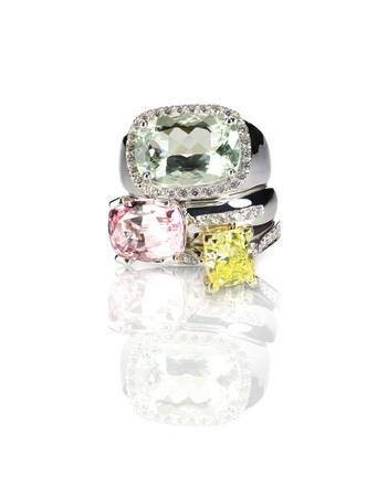Grouping of colored gemstone diamond rings stacked 版權商用圖片