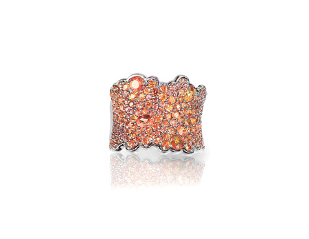 orange topaz pave fashion ring band isolated on white 版權商用圖片 - 107735885