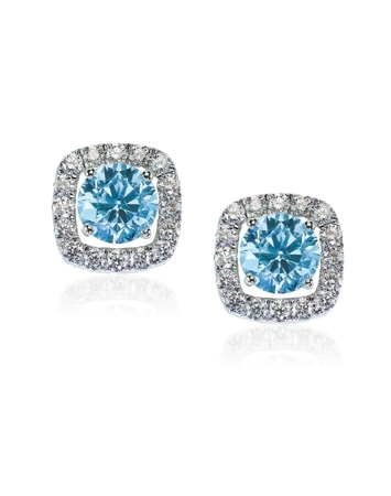 Blue Diamond stud earrings isolated on white 写真素材