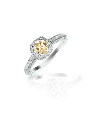 cognac diamond ring in halo setting 写真素材