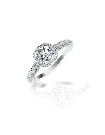 Diamond solitaire engagment wedding ring isolated on white Reklamní fotografie