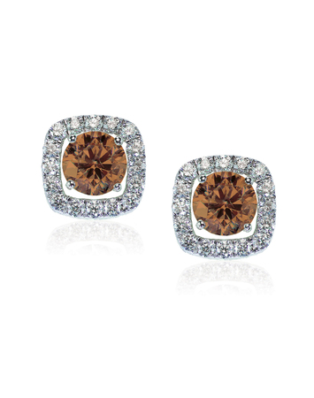 Chocolate brown diamond earrings isolated on white