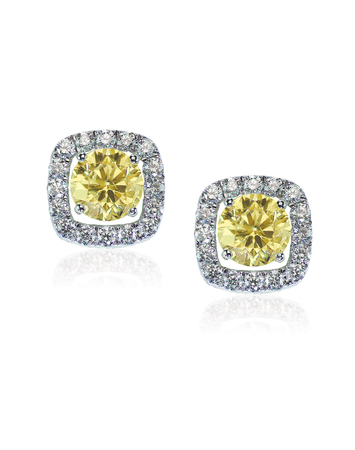 Yellow diamond citrine topaz stud earrings pair isolated on white Фото со стока - 108614601