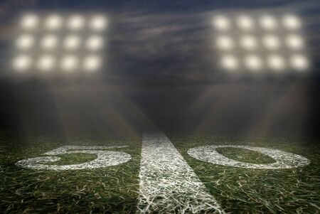 Friday Night Lights Football Game on Football field fifty yard line background. An American football grass turf football field.