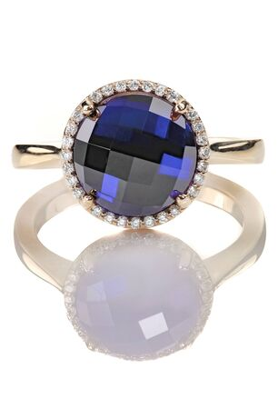 Sapphire and diamond halo fine jewelry non-traditional engagement Ring